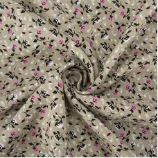 Ткань на отрез штапель 145 см 20015 Цветы на бежевом