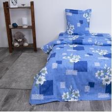 Постельное белье из бязи 433/1 Лилии кружевные голубой 1.5 сп с 1-ой нав. 70/70