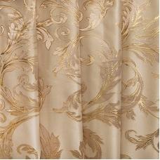Портьерная ткань с люрексом 150 см на отрез  Х7187 цвет 10 бежевый ветка
