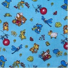 Ткань на отрез бязь 120 гр/м2  детская 150 см 383/1 Зоопарк голубой