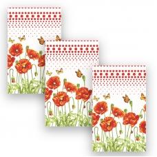 Набор вафельных полотенец 3 шт 35/70 см 438-4 Маков цвет