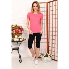 Костюм домашний футболка+леггинсы розовый+черный Г24 р 48