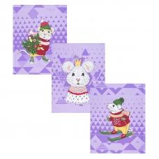 Набор вафельных полотенец 3 шт 50/60 см 3028-4 Мышиный король
