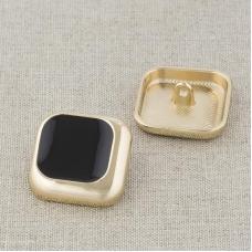 Пуговица металл ПМ124 21мм золото черная эмаль уп 12 шт
