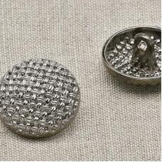 Пуговица металл ПМ19 18мм круглая с плетением черный никель уп 12 шт