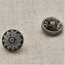 Пуговица металл ПМ23 8мм черный никель цветок уп 12 шт