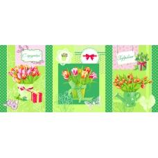 Набор вафельных полотенец 3 шт 50/60 см 449/2 Тюльпаны цвет зеленый