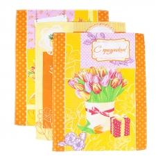 Набор вафельных полотенец 3 шт 45/60 см 449/3 Тюльпаны цвет оранжевый