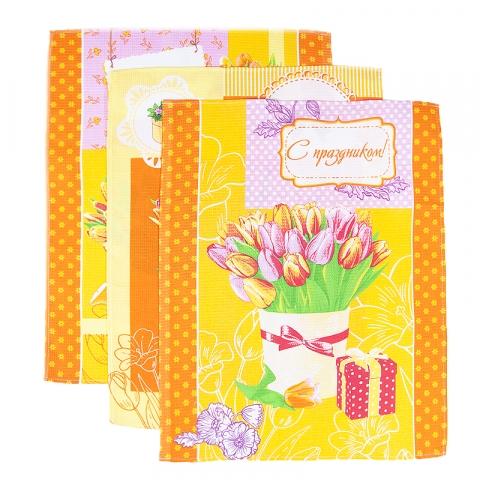 Набор вафельных полотенец 3 шт 50/60 см 449/3 Тюльпаны цвет оранжевый
