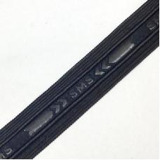 Лампасы №135 черный под кожу с надписью SMS 2,5см 1 метр