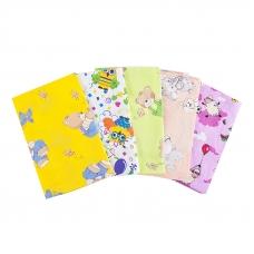 Пеленка бязь c детским рисунком для девочки 120/73 (в ассортименте) в упаковке 10 шт