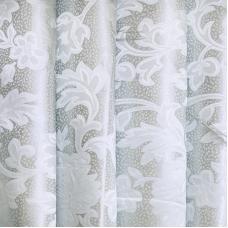 Портьерная ткань 150 см на отрез 16 цвет серый листья