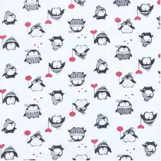 Ткань на отрез интерлок 36/1 Гребенное Пингвины 3428-18