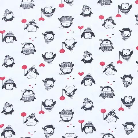 Ткань на отрез интерлок пенье Пингвины 3428-18