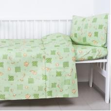 Постельное белье в детскую кроватку 366/2 Жирафики зеленый ГОСТ