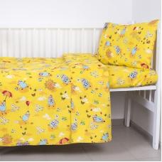 Постельное белье в детскую кроватку из бязи 317/4 Овечки желтый ГОСТ