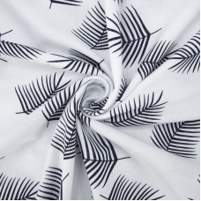 Ткань на отрез кулирка 1370-V3 Лист пальмы на белом