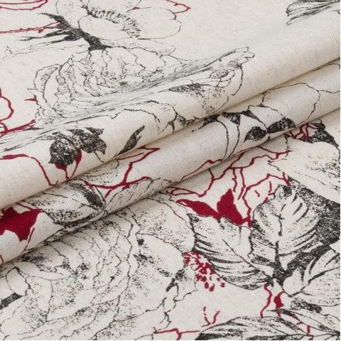 Маломеры полулен полотенечный 150 см 4912/3 цвет красный 1 м