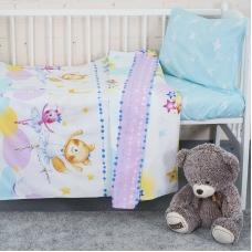Постельное белье в детскую кроватку из поплина 10925/1 Акварельки  с простыней на резинке