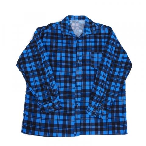 Рубашка мужская фланель клетка 56-58 цвет синий модель 1