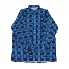 Рубашка мужская фланель клетка 56-58 цвет синий модель 2