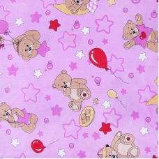 Ткань на отрез бязь 120 гр/м2  детская 150 см 350/3 Мишки розовый