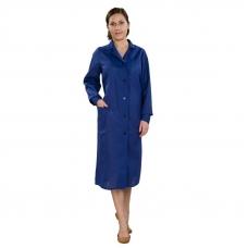 Халат женский рабочий рукав длинный бязь синяя 48-50