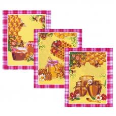 Набор вафельных полотенец 3 шт 50/60 см 427/3 Мед цвет розовый