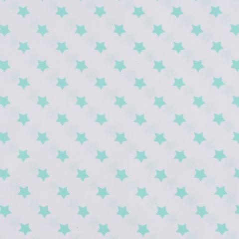 Ткань на отрез поплин 150 см 390А/16 Звездочки цвет мята