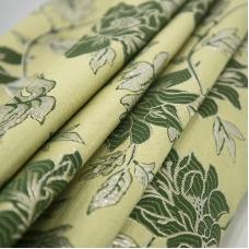 Портьерная ткань с люрексом 150 см на отрез H627 цвет 4 зелёный цветы