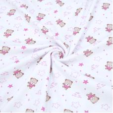 Ткань на отрез интерлок Мишки R020 цвет розовый