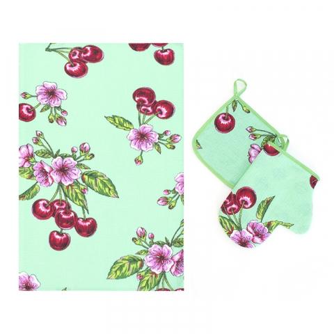 Набор вафельный - полотенце/рукавичка/прихватка вид 1