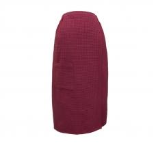 Вафельная накидка на резинке для бани и сауны Премиум женская 80 см цвет 789/3 брусничный