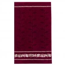 Полотенце велюровое Европа 70/130 см цвет бордовый с вензелями