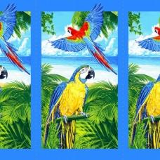 Вафельное полотно набивное 150 см 386/1 Попугаи