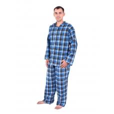 Пижама мужская фланель клетка 44-46 цвет синий