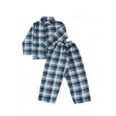 Пижама подростковая фланель клетка 32-34 цвет серый