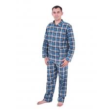 Пижама мужская бязь клетка 40-42 цвет синий