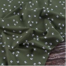 Ткань на отрез перкаль 150 см 306/5 Птички цвет зеленый