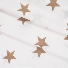 Бязь плательная 150 см 8130/2 Звезды крупные кофе б/з