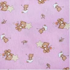 Мерный лоскут на отрез бязь 120 гр/м2  детская 150 см 7176 Мишка со звездой розовый