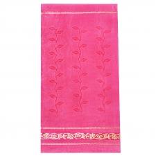 Полотенце велюровое Европа 50/90 см цвет розовый с вензелями