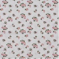 Ткань на отрез лен TBY-DJ-07 Цветы на бежевом