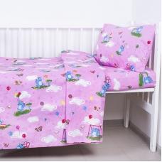 Постельное белье в детскую кроватку из бязи 315/2 Слоники с шариками розовый ГОСТ