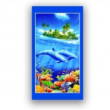 Полотенце вафельное пляжное 326/1 Дельфины 70/150 см