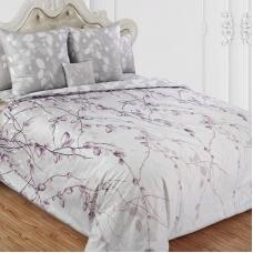 Ткань на отрез сатин набивной 220 см 205534 Весенний шепот основа 4 серо-розовый