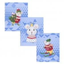 Набор вафельных полотенец 3 шт 50/60 см 3028-1 Мышиный король