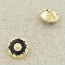Пуговица металл ПМ100 18мм золото черная эмаль уп 12 шт