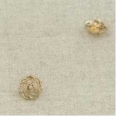 Пуговица металл ПМ107 10мм золото резной цветок уп 12 шт