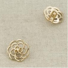 Пуговица металл ПМ107 18мм золото резной цветок уп 12 шт